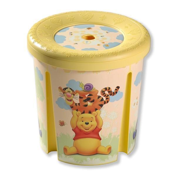 Контейнер декоративный круглый  DISNEY Winnie the Pooh желтый (39*39*40) Curver./6 шт купить оптом и в розницу