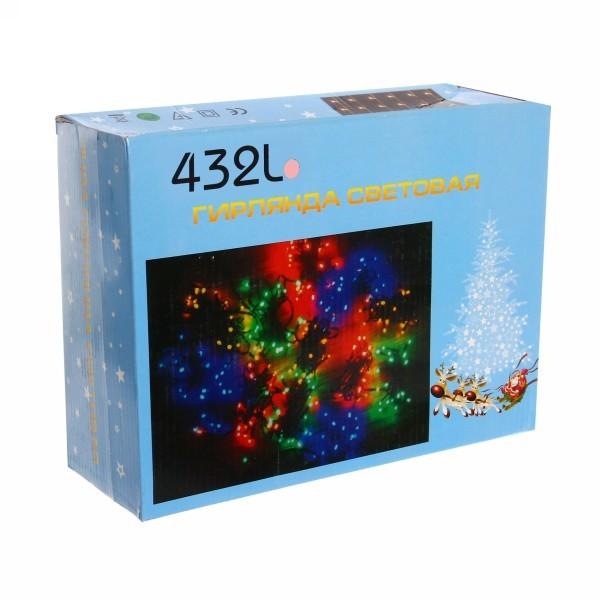 Занавес светодиодный уличный ш 2 * в 3м, 432 лампы LED,″Дождь″, Розовый, 8реж, черн.пров купить оптом и в розницу