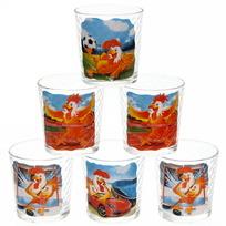 Набор стаканов 6шт 250мл ″Петухи-приколы″ купить оптом и в розницу