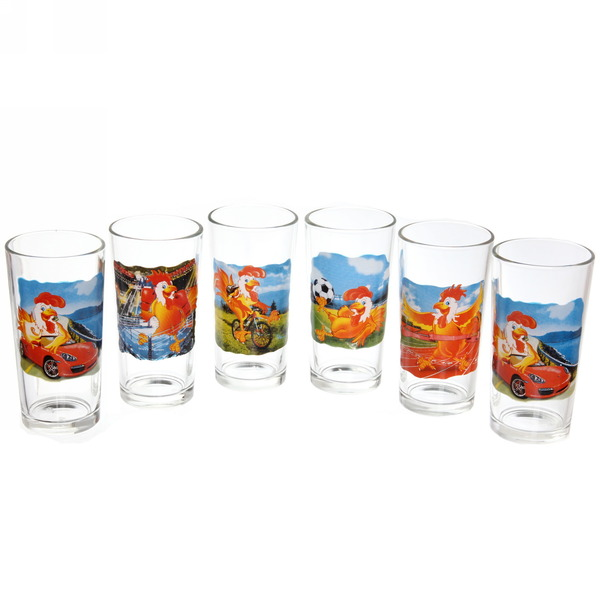 Набор стаканов 6шт 230мл ″Петухи-приколы″ купить оптом и в розницу