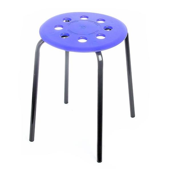 Табурет, 4 опоры (НИКА) цв. сиденья-синий, цв. каркаса-черный 320мм ТП01 купить оптом и в розницу