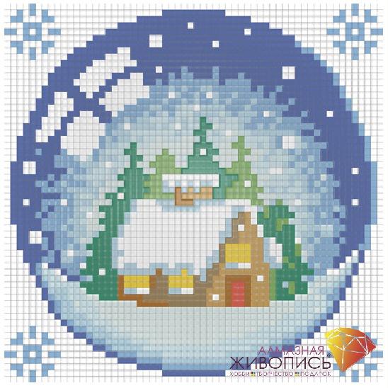 Набор ДТ Картина стразами Новогодний шарик с домиком АЖ-1254 купить оптом и в розницу