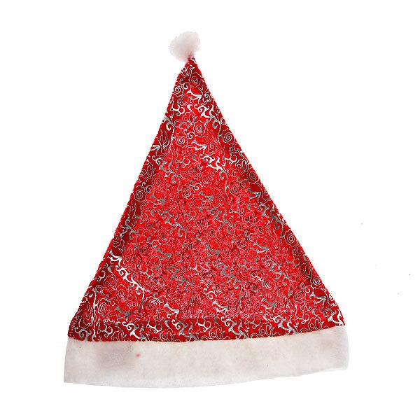 Колпак новогодний, красный с узором ″Изморозь″ 28*38см купить оптом и в розницу