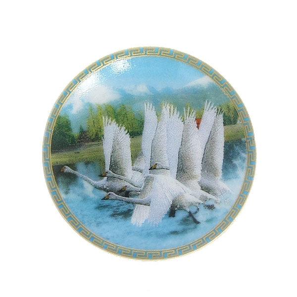 Магнит из керамики ″Лебеди″ 5см купить оптом и в розницу