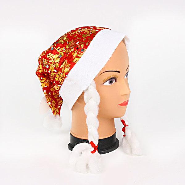 Колпак новогодний красный ″Узоры″ золотые 28*38см купить оптом и в розницу