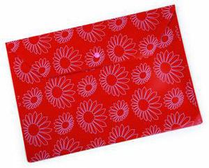 """Папка-конверт с кноп. А4 0,18мм Бюрократ пластик., непрозрач. глянц. с рисун. """"Ромашки"""" красная купить оптом и в розницу"""