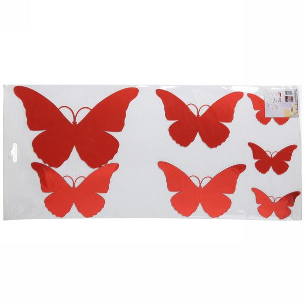 Наклейка зеркальная ″Бабочки″ 60*40см 6 шт., 2 цвета купить оптом и в розницу