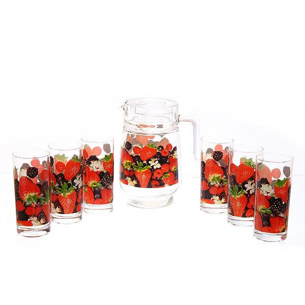Набор питьевой 7 предметов: Кувшин 1,5л, 6 стаканов 280мл ″Ягодный микс″ в цветной коробке (1/6)75-80968 купить оптом и в розницу