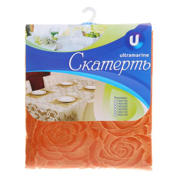 Скатерть ″Классика″ 140*220см, роза крупная оранжевая Ультрамарин купить оптом и в розницу
