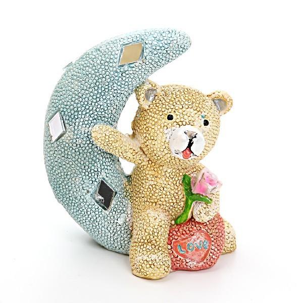 Фигурка ″Мишка жемчужный на месяце″ 10*8см купить оптом и в розницу