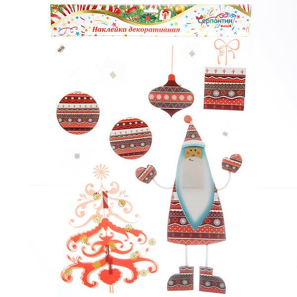Наклейка декоративная 3D Новогодний праздник 44*29см MAA-1003 купить оптом и в розницу