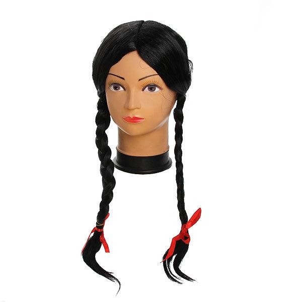 Парик карнавальный ″Жгучая брюнетка с косами″ 999-1 купить оптом и в розницу