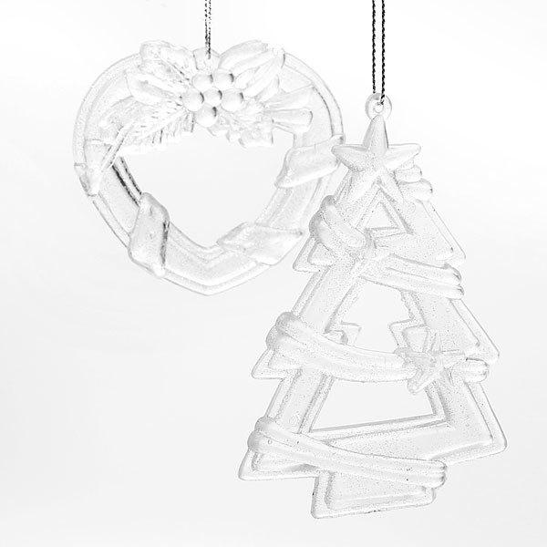 Ёлочные игрушки акриловые, набор 2шт, 11см ″Колокольчик и венок″ микс купить оптом и в розницу