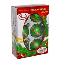 Новогодние шары ″Изумруд Жемчужный узор″ 6см (набор 6шт.) купить оптом и в розницу