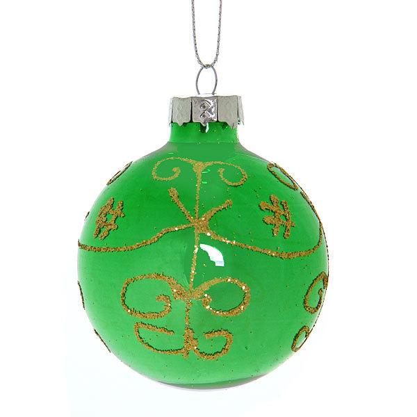 Новогодние шары ″Изумруд Золотой арнамет″ 6см (набор 6шт.) купить оптом и в розницу