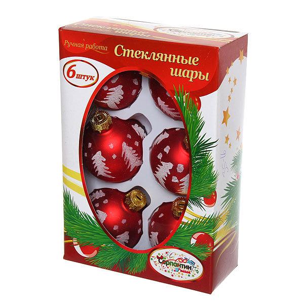 Новогодние шары ″Рубин Елочка″ 6см (набор 6шт.) купить оптом и в розницу