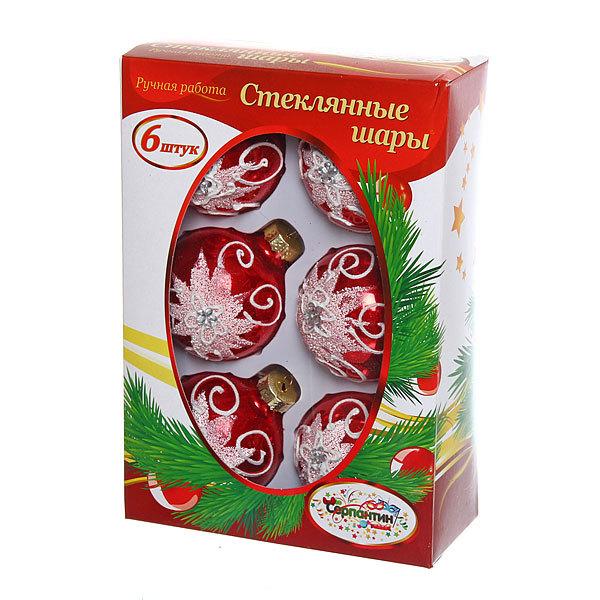 Новогодние шары ″Рубин снежный узор″ 6см (набор 6шт.) купить оптом и в розницу
