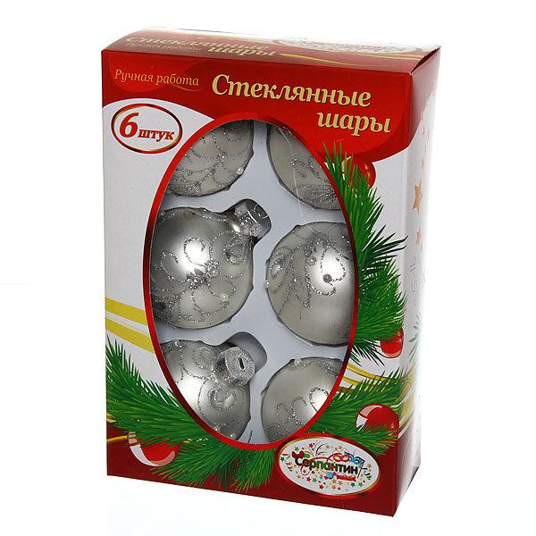 Новогодние шары ″Жемчуг Серебряный узор″ 6см (набор 6шт.) купить оптом и в розницу