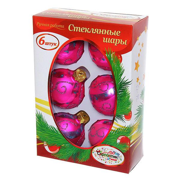 Новогодние шары ″Малиновый Узор″ 6см (набор 6шт.) купить оптом и в розницу