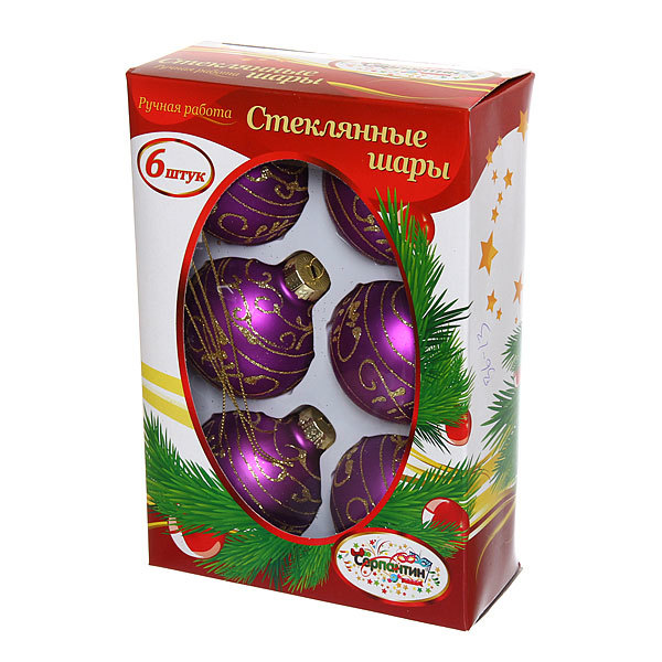 Новогодние шары ″Сиреневый Узор″ 6см (набор 6шт.) купить оптом и в розницу