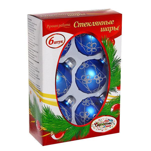Новогодние шары ″Топаз Узор″ 6см (набор 6шт.) купить оптом и в розницу