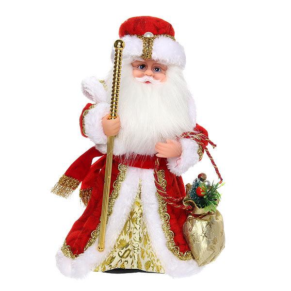 Дед Мороз музыкальный 30см красный с посохом купить оптом и в розницу