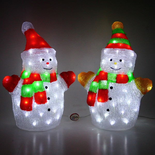 Фигура светодиодная 54см Снеговики 2шт RF1030 ″П″ купить оптом и в розницу