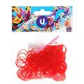 Резинки для плетения 300шт красные с крючком и S-клипсами купить оптом и в розницу