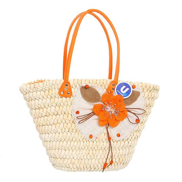 Сумка плетеная женская ″Лакиша″ мак оранжевый 30*42*15 купить оптом и в розницу