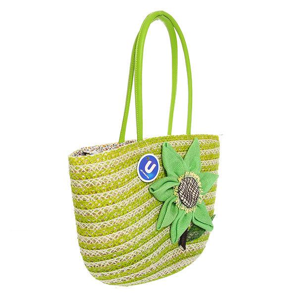 Сумка плетеная женская ″Лакиша″ цветок зеленый 43*26*14 купить оптом и в розницу