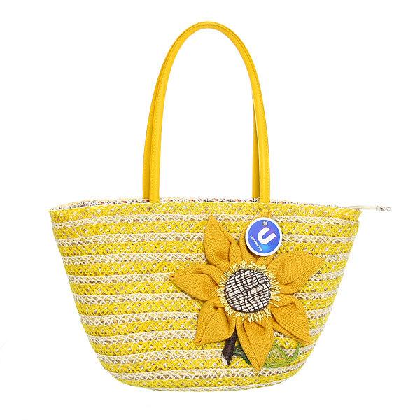 Сумка плетеная женская ″Лакиша″ цветок желтый 43*26*14 купить оптом и в розницу