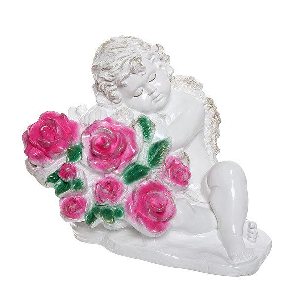 Статуэтка гипсовая ″Ангел в розах″ (цветной), 25 см купить оптом и в розницу
