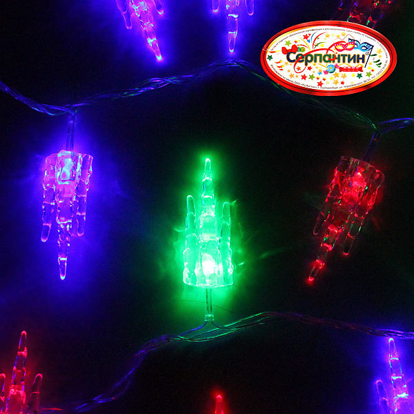 Гирлянда светодиодная 5,5м, 32 ламп LED, Сосульки, RG/RB(красный,зеленый/красный,синий), ав.реж., пр. пров. купить оптом и в розницу