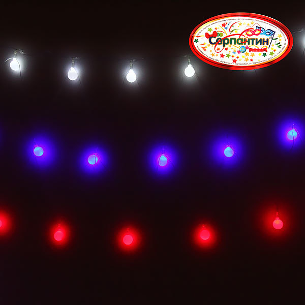 Сетка светодиодная 3 х 0,4м, 72 лампы LED, Российский Флаг, шарики купить оптом и в розницу