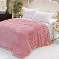 Плед 200*230см искусственный мех длинный ворс розовый 2-х сторонний в сумке купить оптом и в розницу