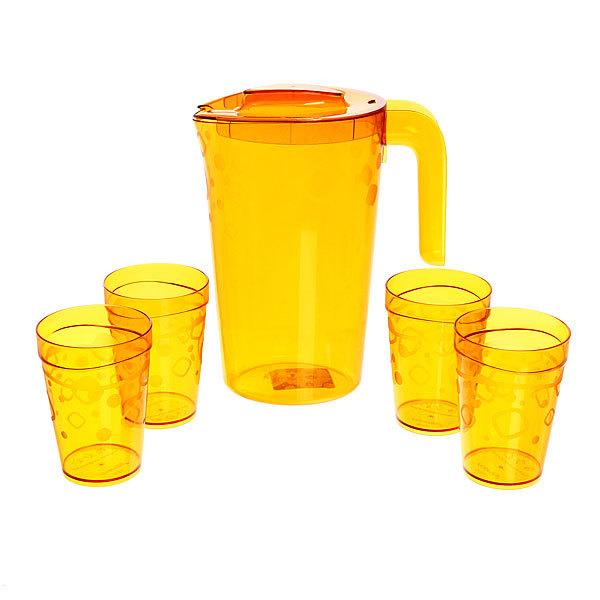 Набор питьевой 5 предметов ″Люмици″: кувшин 1,8л; 4 стакана 0,3л коричневый прозрачный С576КЧП купить оптом и в розницу