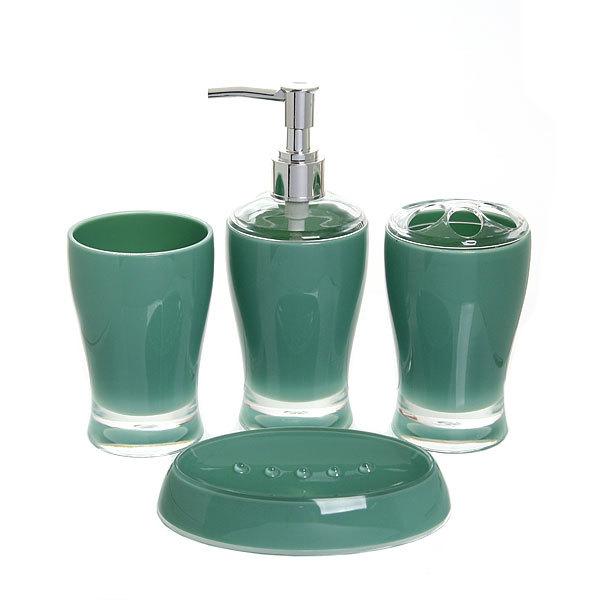 Набор для ванной из 4-х предметов 6425 зеленый купить оптом и в розницу