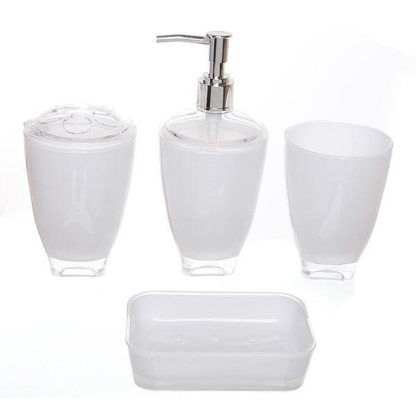 Набор для ванной из 4-х предметов 6424 белый купить оптом и в розницу