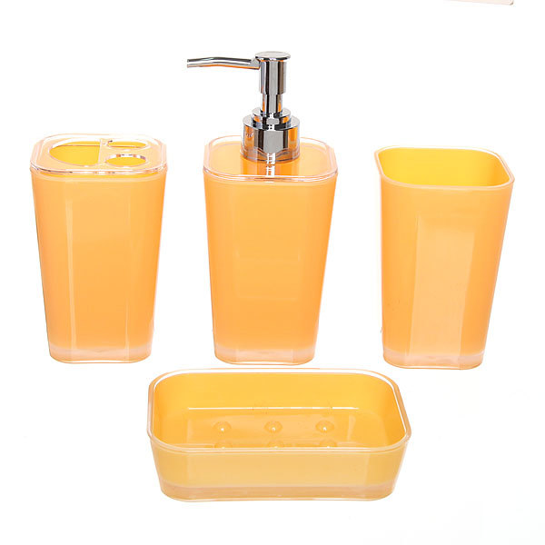 Набор для ванной из 4-х предметов 6421 оранжевый купить оптом и в розницу