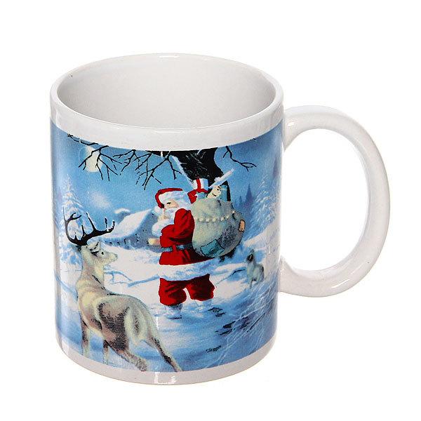 Кружка керамическая 300мл ″Дед Мороз с оленем″ купить оптом и в розницу