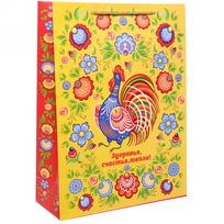 Пакет 32х43 см матовый ″Здоровья, счастья, тепла!″, Городецкая роспись, вертикальный купить оптом и в розницу