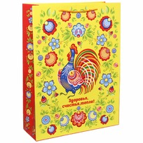 Пакет подарочный 32х43 см вертикальный ″Здоровья, счастья, тепла!″, Городецкая роспись купить оптом и в розницу