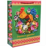 Пакет 32х43 см глянцевый ″Счастья и здоровья!″, Жостовский петушок, вертикальный купить оптом и в розницу