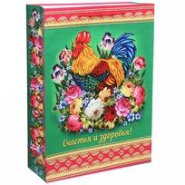 Пакет подарочный 32х43 см вертикальный ″Счастья и здоровья!″, Жостовский петушок купить оптом и в розницу