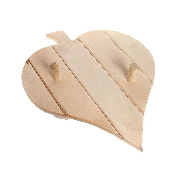 Вешалка ″Банный лист″ липа 2 крючка купить оптом и в розницу