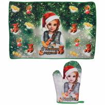Набор полотенце и варежка ″С новым годом!″, Снегурочка купить оптом и в розницу