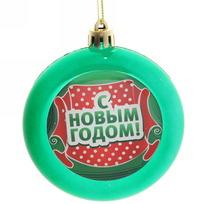 Ёлочный шар плоский ″С Новым годом″ (зелен) купить оптом и в розницу