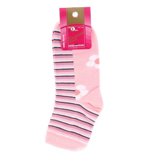 Носки женские Золотая игла, полосатые, цвет розовый р. 23-25 купить оптом и в розницу
