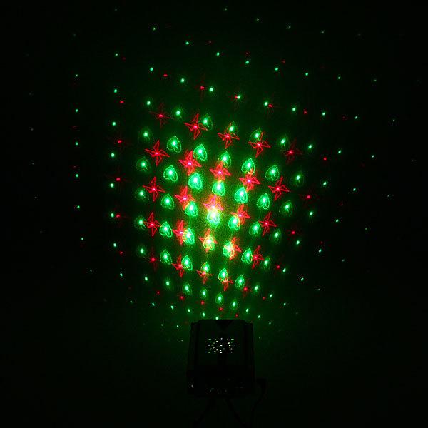 Световой прибор Лазер М-015B, RG, mic, 3 режима, голуби, звёзды, сердца купить оптом и в розницу