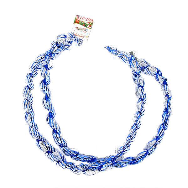Мишура новогодняя 1,5 метра 3см ″Спиральки″ синий купить оптом и в розницу